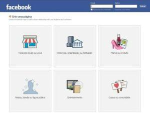 Crie uma página no Facebook